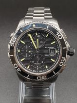 Tag Heuer Aquaracer gents watch black face twisted bezel luminous hands and numerals, sapphire