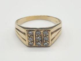14K Yellow Gold Nine-Stone Diamond Signet Ring. 0.45 Carat. 7.1g. Size Z + 1.