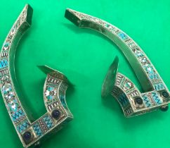 19th century pair of rare vase handles Russian silver enamel with diamond and gemstones set in