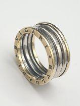14K Yellow and White Gold Bvlgari-Style Ring. 6.8g. Size P