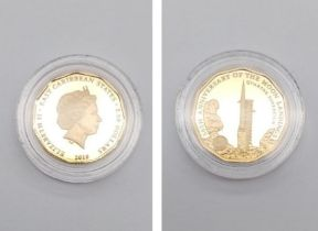 22K Yellow Gold Quarter Sovereign Celebrating the 50th Anniversary of the Moon Landing. Plus the