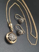 14k Yellow Gold Old Diamonds Earring and matching pendant on chain Set. 56cm. 9.68g total weight.