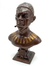 Antique German Bronzed Spelter Cigar Lighter Bust of Konig Makoke. Raised on a square plinth, with