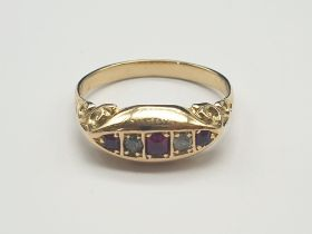 18K Yellow Gold and Diamond Ruby Five Stone Ring. 4.3g. Size P.