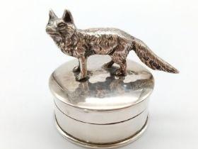 Unusual Silver Wolf Figurine on a Trinket/Pill Box Case. 5 x 5cm. 64g