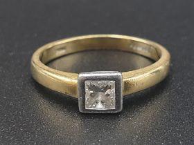 18k Yellow Gold Diamond Ladies Ring. Size J. 3.11g. Princess cut diamond. Original heart-shaped box.