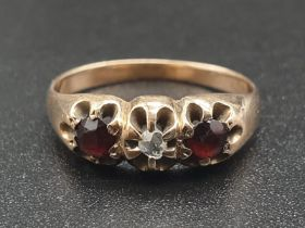 14K Yellow Gold Diamond and Ruby Ring. Size M 2.67g