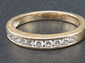 18k Yellow Gold Half Eternity Ladies Diamond Ring. 3.08g. Size L1/2