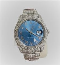 Rolex Oyster DateJust; 41mm; superlative chronometer officially certified; diamonds were set outside