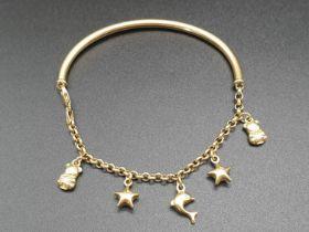 18K Yellow Gold Half-Charm Bracelet. 6cm diameter. 7.26g