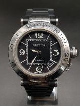 Pasha de Cartier gents watch round black face twisted bezel automatic, 42mm