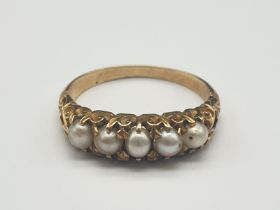 18K Yellow Gold Five Pearl Ring. Size R. 3.8g