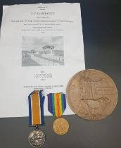 Somme Casualty Medals & Death Plaque. Pte J.C.Gabbott 7th Bn-Attached 4th Bn Kings Liverpool Reg.