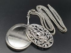 Antique Ornate Mirror Pendant with Chain Link Necklace. Hallmark Pendant - Birmingham 1899. Necklace