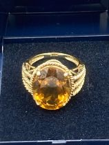 9 carat Gold ring set with Brown Tourmaline ,having large faceted oval stone to top with rope