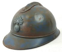 WW1 French M15 Adrian Helmet. Badged to the Infantry, No Liner