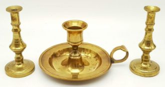 Three Vintage Brass Candle Holders. Two miniature-11cm tall, and one hand-held - 7cm tall. All