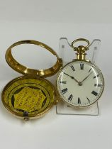 Antique rare yellow metal Rack lever pocket watch, pair case, Liverpool, with Liver bird on
