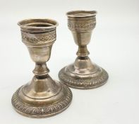 A PAIR OF VINTAGE SILVER CANDLESTICKS BY CROWN SOME SIGNS OF WEAR! 402gms 11cms