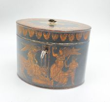 AN 18TH CENTURY OVAL TEA CADDY WITH ORIGINAL NEO CLASSICAL HAND PAINTED WITH ROMAN FIGURES. 13 X