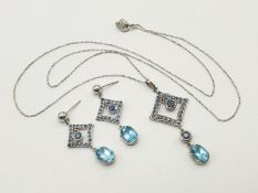 Set of 14K White Gold Sapphire Drop Earrings and Necklace. Multiple Sapphires on each piece. 46cm