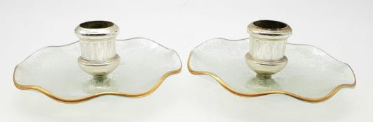 A Pair of Vintage Glass Candle Holders. Floral decoration with gilded edge. 12cm diameter.