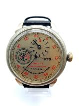 A rare and unusual commemorative Russian watch of Apollo-Soyuz flight, known as Handshake in Space
