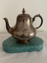Large Antique Victorian silver teapot 1872 .Clear hallmark for Thomas Smily London. Covered with