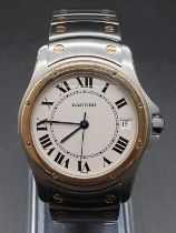 Cartier stainless steel automatic watch, round face Roman numerals and two-tone (bi-metal) strap