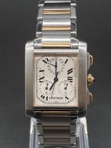 Cartier tank watch, square face Roman numerals and two-tone (bi-metal) strap