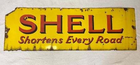 Large Original Vintage Shell Enamel Sign - Shell Shortens Every Road. Conditions as per photos.