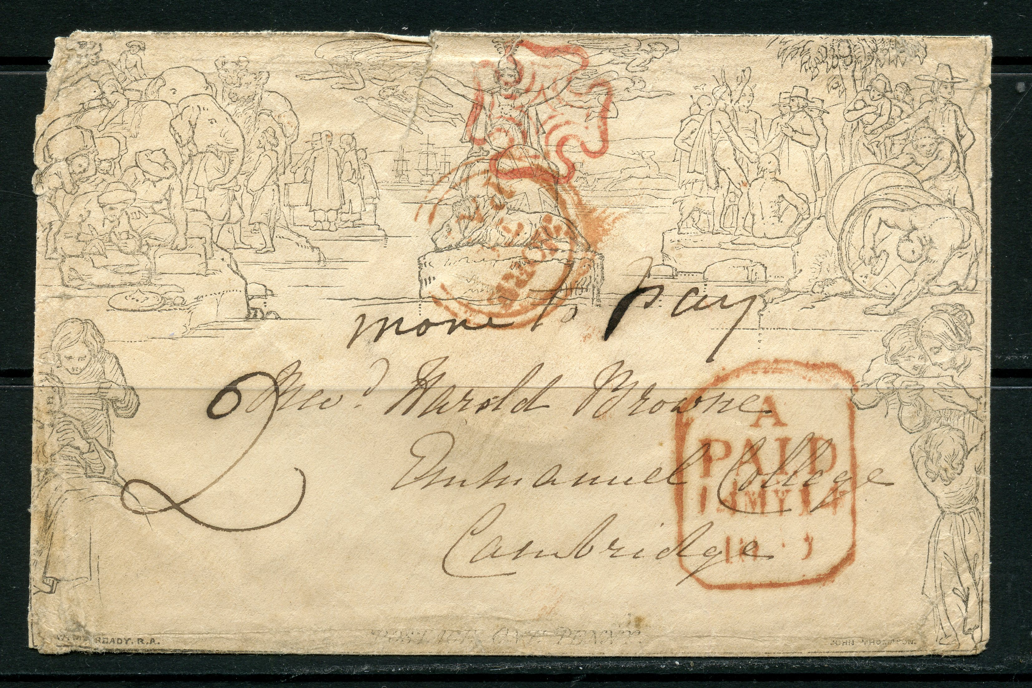 1840 Mulready 1d envelope May 12 Bath via London to Cambridge cancelled with red MX, but rated at