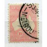 AUSTRALIA 1931 - 36 10/- grey and pink wmk C of A fu. SG 136. Cat £150.