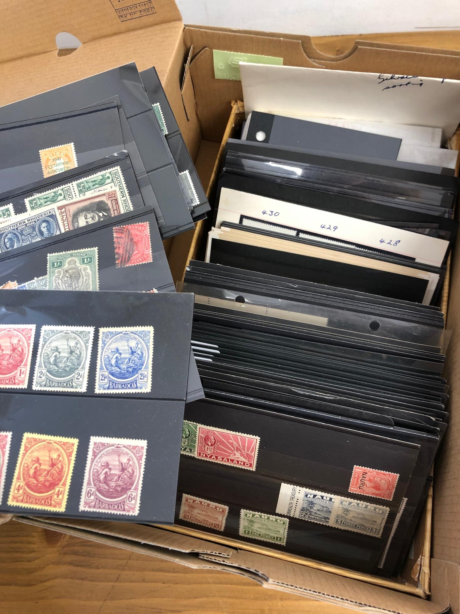 COMMONWEALTH shoebox containing over 150 stock cards comprising a collector's extras. Noted some