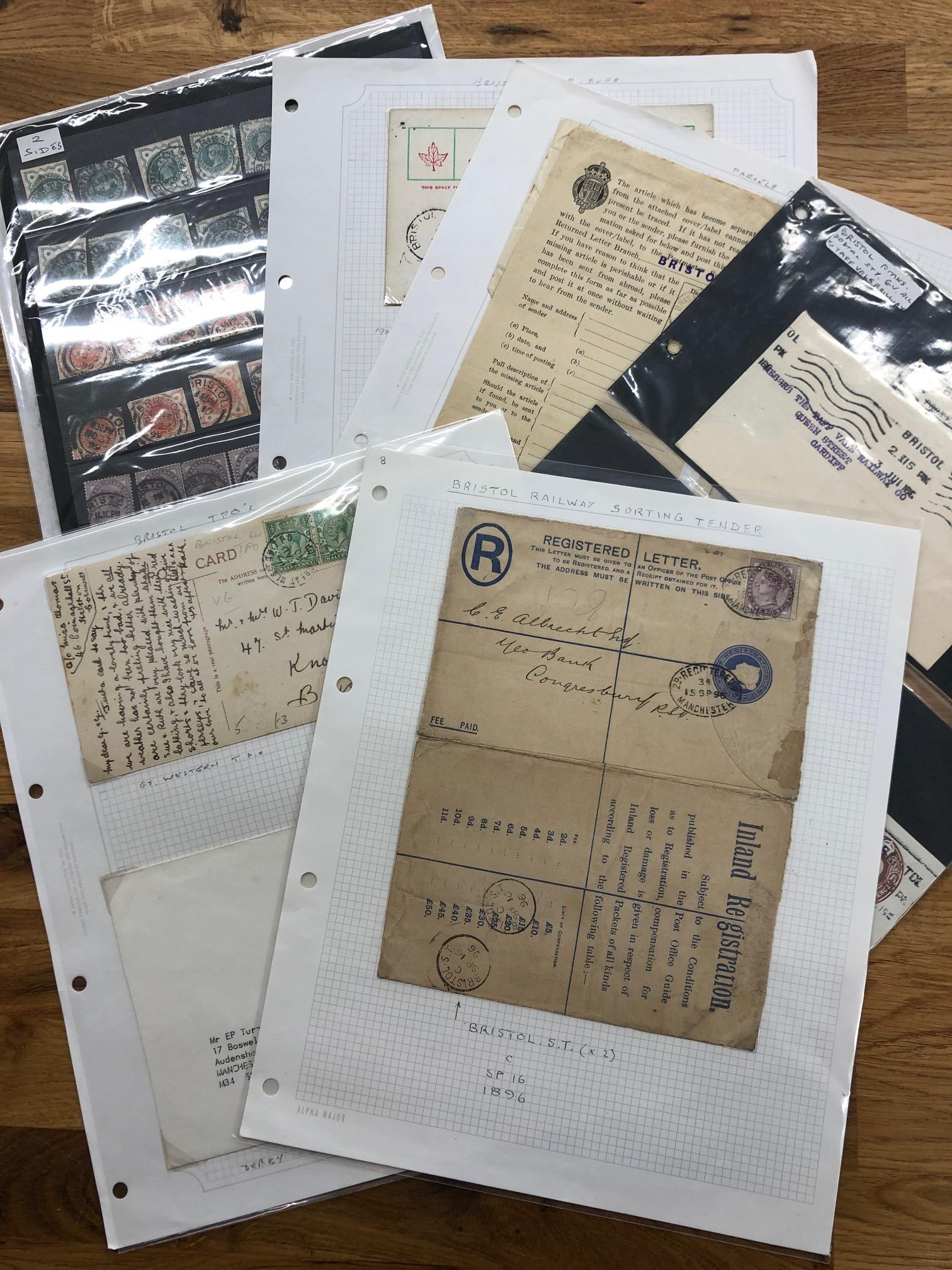 POSTAL HISTORY a packet of TPOs, Sorting Tenders, Taff Vale Rail, PDs, Bristol to Birmingham 1st Air