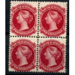 SOUTH AUSTRALIA 1876 - 1900 2/- rose carmine with large holes block of 4 mint. SG 134. Cat £160.