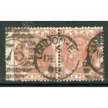 1867 - 80 10d deep red brown (QI-QJ) pair with London duplex cancel. SG 114. Cat £1200.