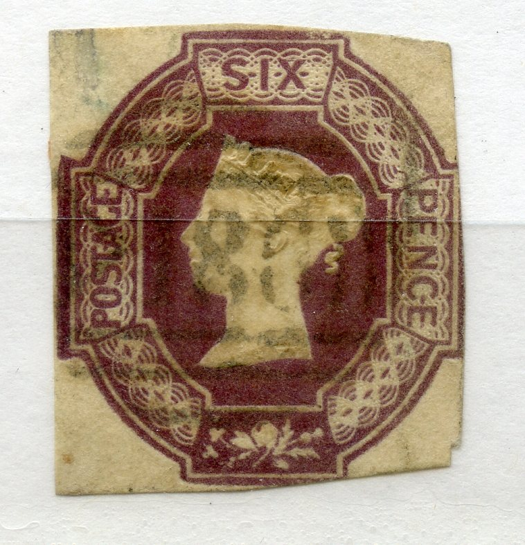 1847 Embossed 6d dull lilac almost 4 margined with light cancel. SG 59. Cat £1000.