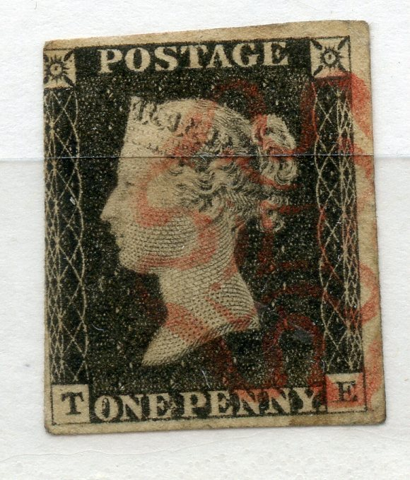 1840 1d Black plate 3 (TE) fine 3 margined with red MX cancel.