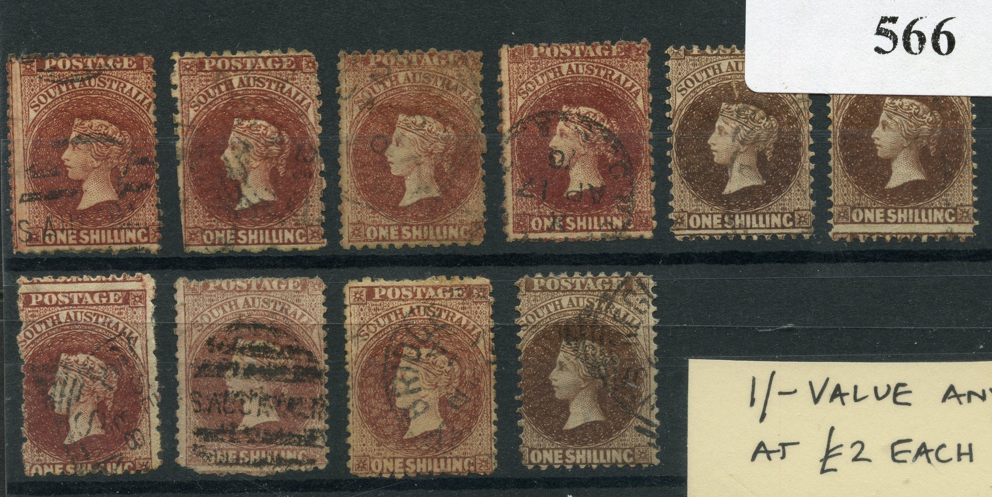 SOUTH AUSTRALIA 1860 - 79 1/- brown x 10 mixed types and shades mostly good used.