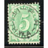 AUSTRALIA POSTAGE DUES 1902 - 04 5/- emerald green perf 11½ compound 12 vfu. SG D33. Cat £24.