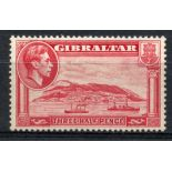GIBRALTAR 1938 - 51 1½d carmine perf 13½ mint. SG 123a. Cat £275.