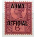 OFFICIALS ARMY 1896 - 1901 6d purple mint. SG 045. Cat £110.