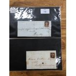 POSTAL HISTORY 1d red imperfs with MX cancels on entires, plates 24, 28 and uncertain but date