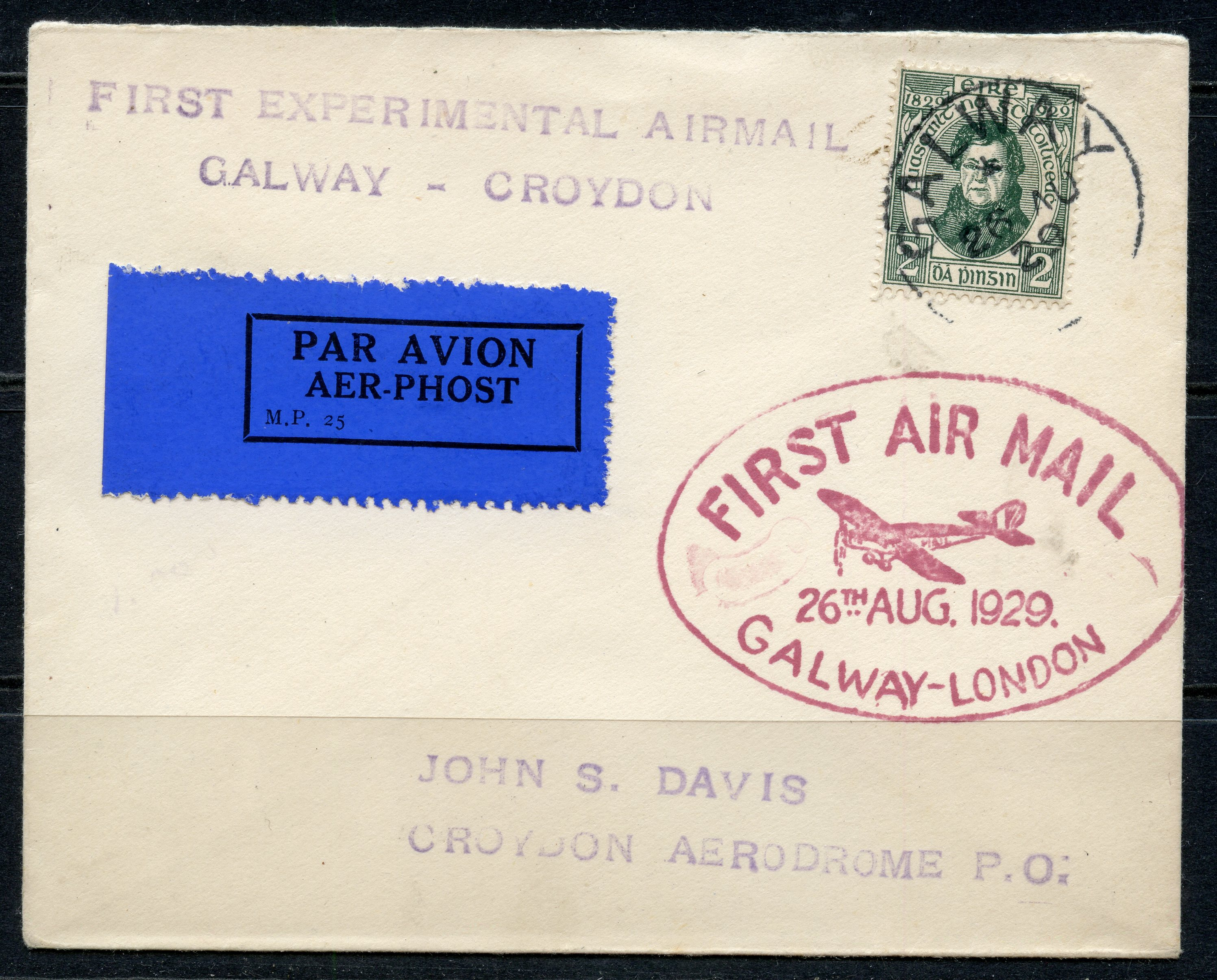 IRELAND 1929 First Flight Cover from Galway to London with Galway single circle cancel.