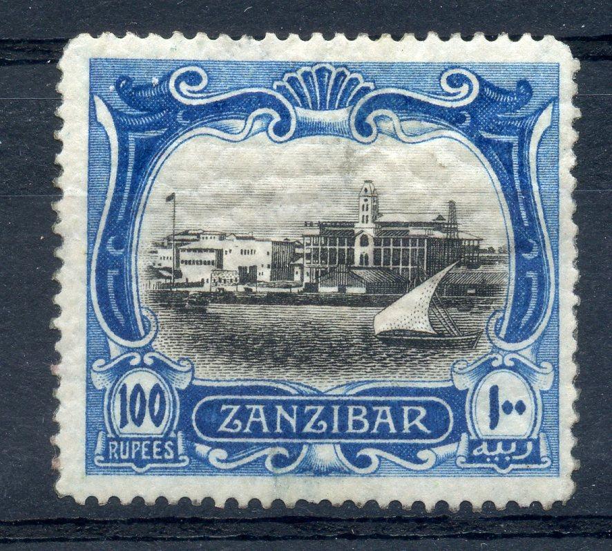 ZANZIBAR 1908 100r black and steel blue wmk mult quatrefoil mint. SG 244. Cat £1300.