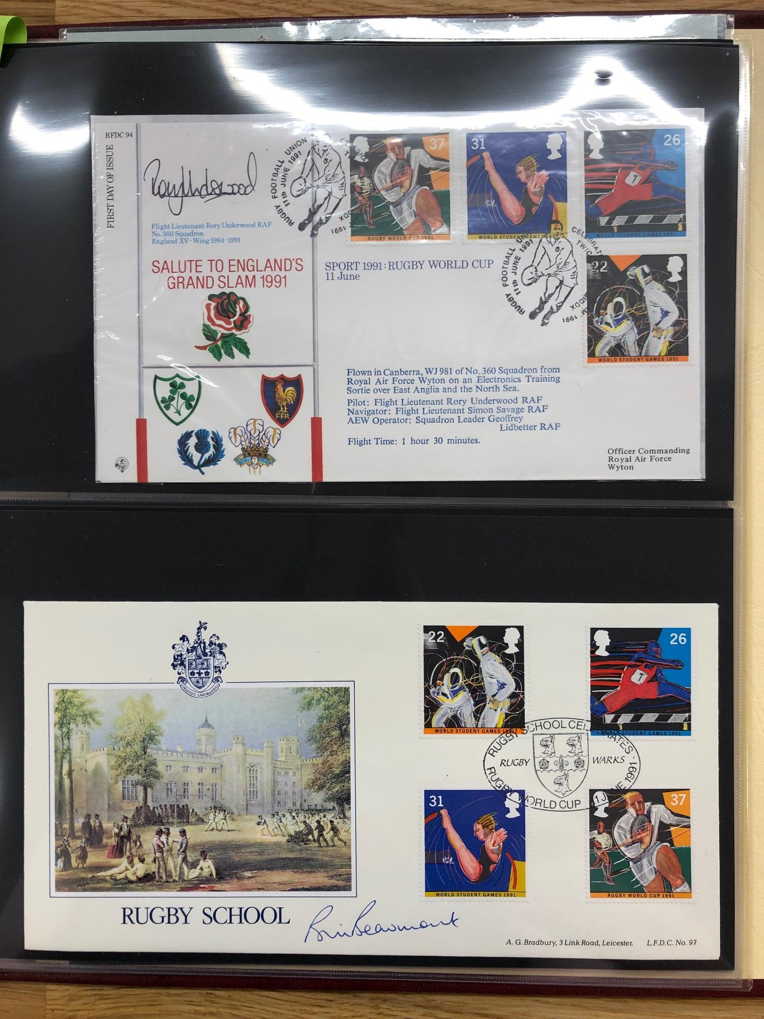 COIN COVERS 2003 Rugby World Cup, a selection of 12 special covers, 3 being signed by Bill Beaumont,