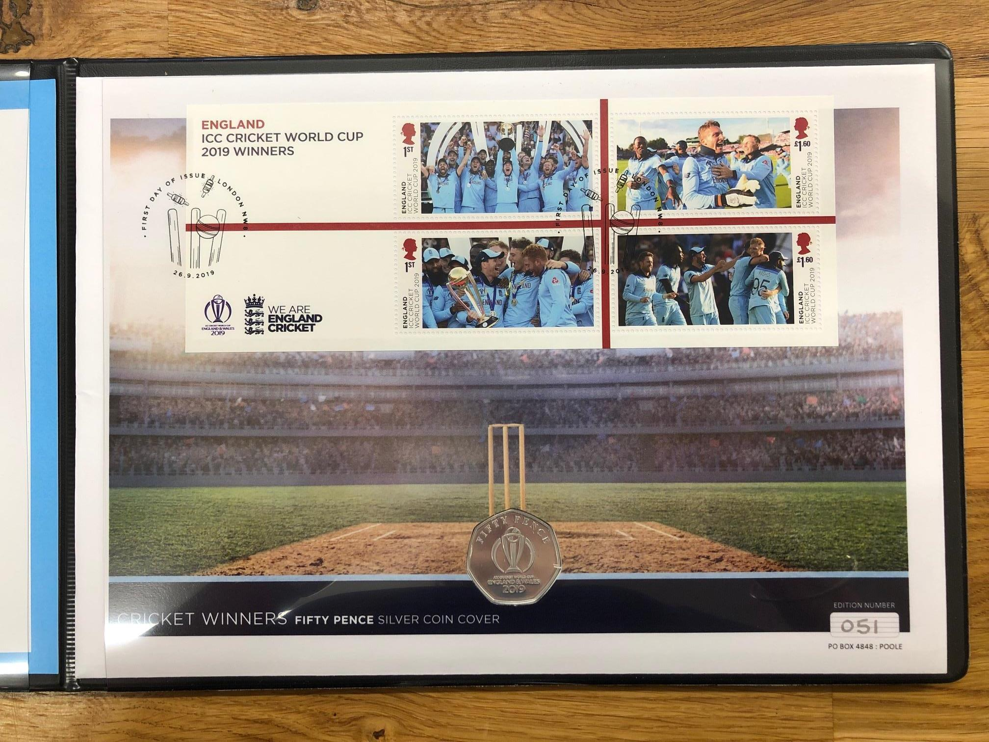COIN COVERS 2019 Cricket Winners 50p silver in special folder.