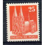 GERMAN ALLIED OCC BR & AMERICAN ZONE 1948 - 50 25pf vermilion type 3 perf 14 um. SG A122ba. Cat £