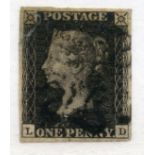 1840 1d Black plate 3 (LD) 4 margined with black MX canc, faults.